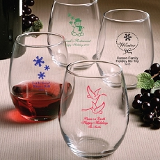 Personalized Stemless Wine Glasses-Holiday