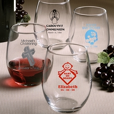 Personalized Stemless Wine Glasses - Baby