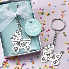 Oh Baby Design Silver Metal Baby Carriage Key Chain