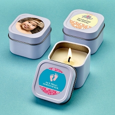 Personalized Expressions White Scented Travel  Candle Tin - Baby