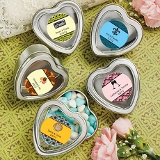 Personalized Silver Heart Mint Tins