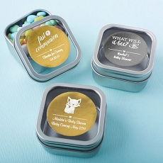 Personalized Metallic Collection Clear Top Mint Tin Favors - Baby