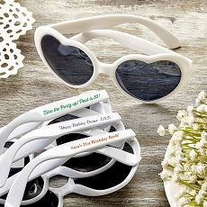 Personalized Heart Shaped White Sunglasses - Birthday