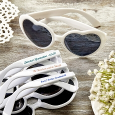 Personalized Heart Shaped White Sunglasses Graduation