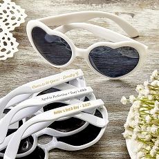 Personalized Metallic Heart Shaped White Sunglasses - Birthday