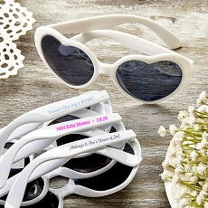 Direct Screen Print Heart Shaped White Sunglasses - Baby