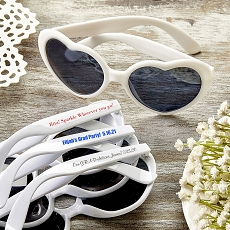 Direct Screen Print Heart Shaped White Sunglasses - Graduation