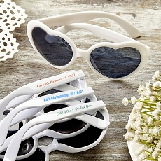 Direct Screen Print Heart Shaped White Sunglasses - Religious