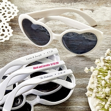 Direct Screen Print Heart Shaped White Sunglasses