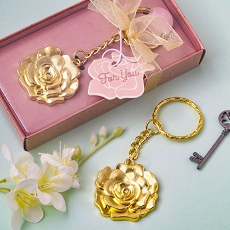 Gold Rose Keychain Favor
