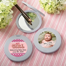 Personalized Collection Silver Compact Mirror  - Baby
