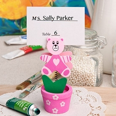 Pink Teddy Bear/Flower Pot Card Holder