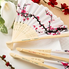 Personalized Cherry Blossom Design Silk Folding Fan