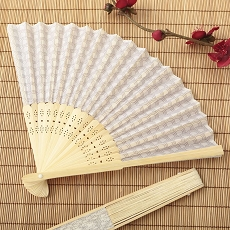 Silver Scallop Silk Folding Fan Favor