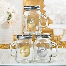 Personalized Metallic Collection Glass Mason Jar W/Handle