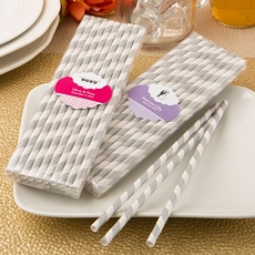 Customized Silver/White Stripe Paper Straws-Holiday