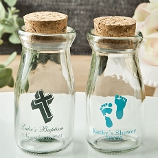 Personalized Vintage Milk Bottles with Round Cork Top - Baby