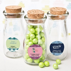 Personalized Vintage Glass Milk Bottle with Round Cork Top - Graduation Design