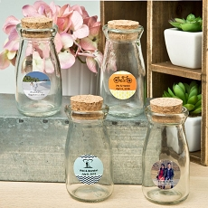 Personalized Glass Milk Bottle w/Round Cork Top