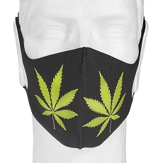 Black Mask Green Pot Leaf Design