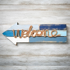 Welcome Arrow Wood Plaque With Rope By Fashioncraft