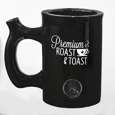 Premium Roast & Toast Mug - Shiny Black With White Print