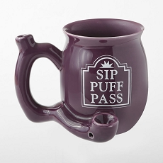 Sip Puff Pass Mug - Purple With White Letters