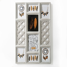 Wall Collage - Antique Ivory Color - Vertical - 8 Openings