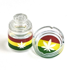 Ashtray Set With Stash Jar - Leaf Design