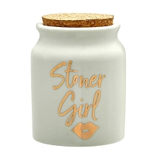 Stoner Girl Stash Jar - White With Gold Letters