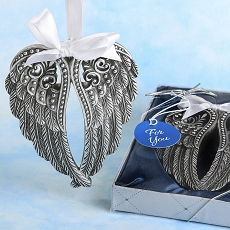 Silver Angel Wings Design Ornament with a Pewter Finish
