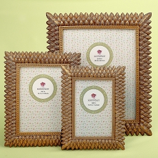 Set of 3 Brushed Gold Leaf Frames by Fashioncraft