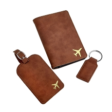 Fly With Me Collection - Deluxe Faux Brown Suede Travel Set