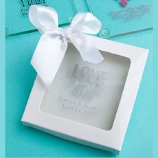 White Gift Box White Satin Bow: 3.5