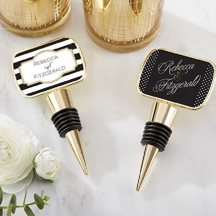Personalized Gold Bottle Stopper Epoxy Dome - Classic-Kate Aspen