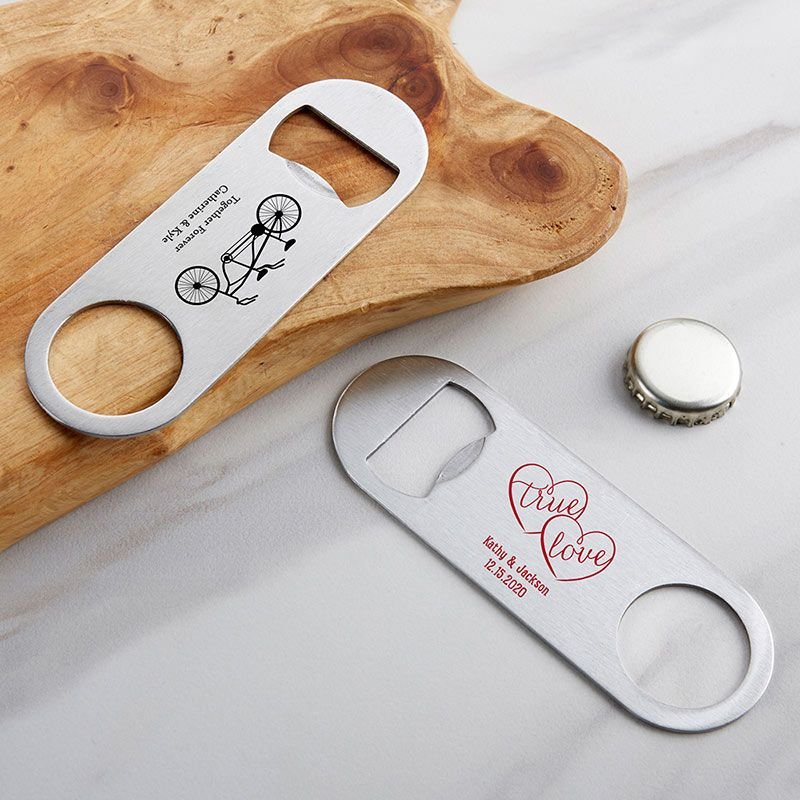 Personalized Silver Oblong Bottle Opener - Wedding-Kate Aspen