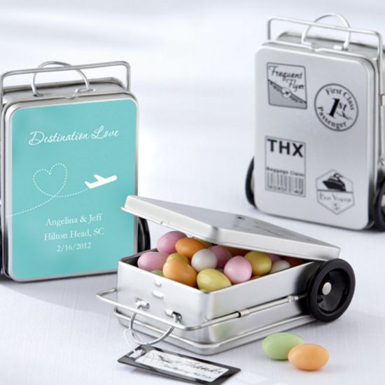 Miles of Memories Suitcase Favor Tins (Set of 12)-Kate Aspen