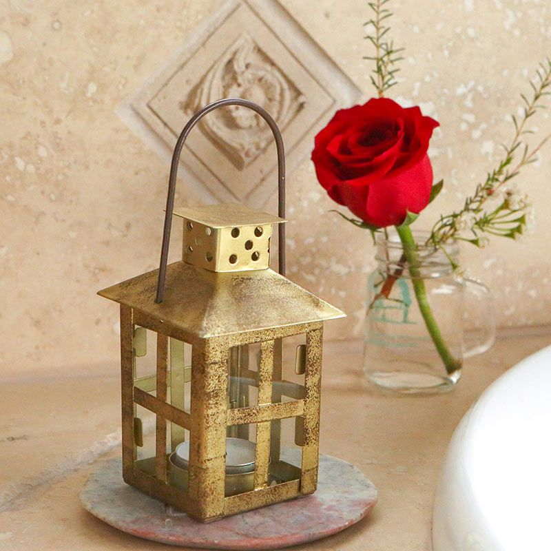 Vintage Antique Gold Distressed Lantern - Small-Kate Aspen