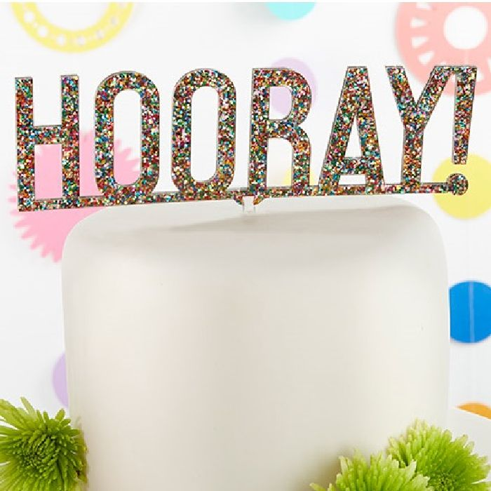 Hooray Multicolor Glitter Acrylic Cake Topper-Kate Aspen