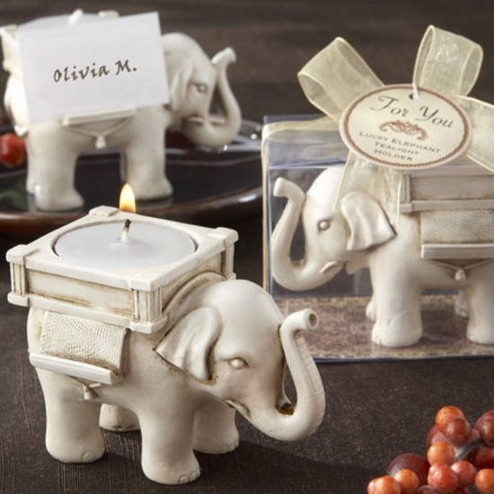 Lucky Elephant Ivory-Finish Tea Light Holder-Kate Aspen