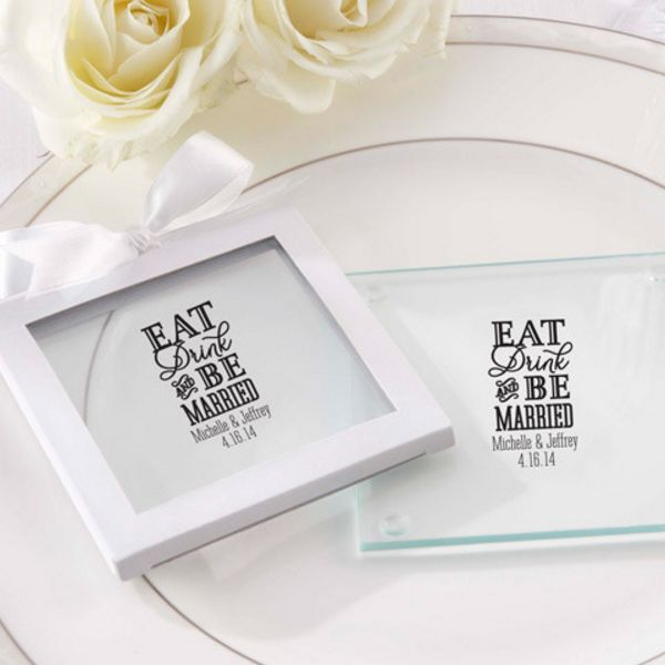 Personalized Glass Coaster - Eat, Drink & Be Married (Set of 12)-Kate Aspen
