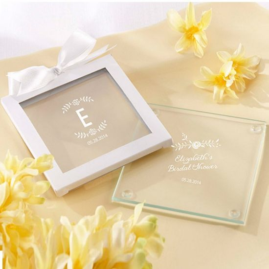 Personalized Glass Coasters - Rustic Bridal  (Set of 12)-Kate Aspen