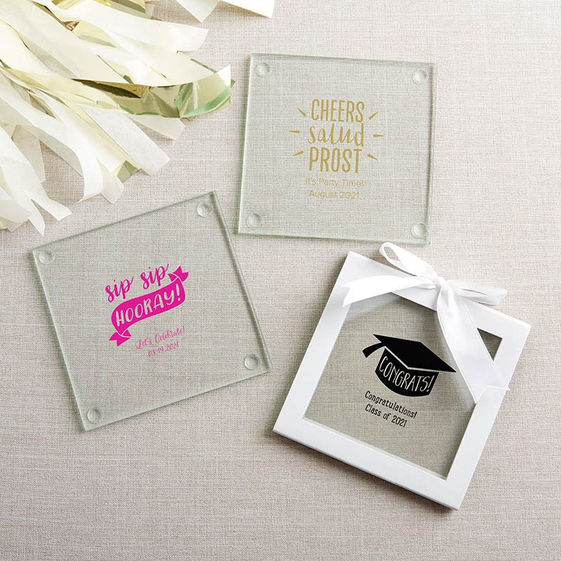 Personalized Glass Coasters- Celebrate (Set of 12)