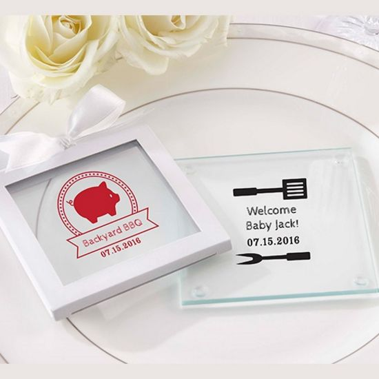Personalized Glass Coaster - BBQ (Set of 12)-Kate Aspen