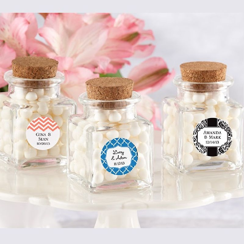 Petite Treat Square Glass Favor Jar - Wedding (Set of 12)