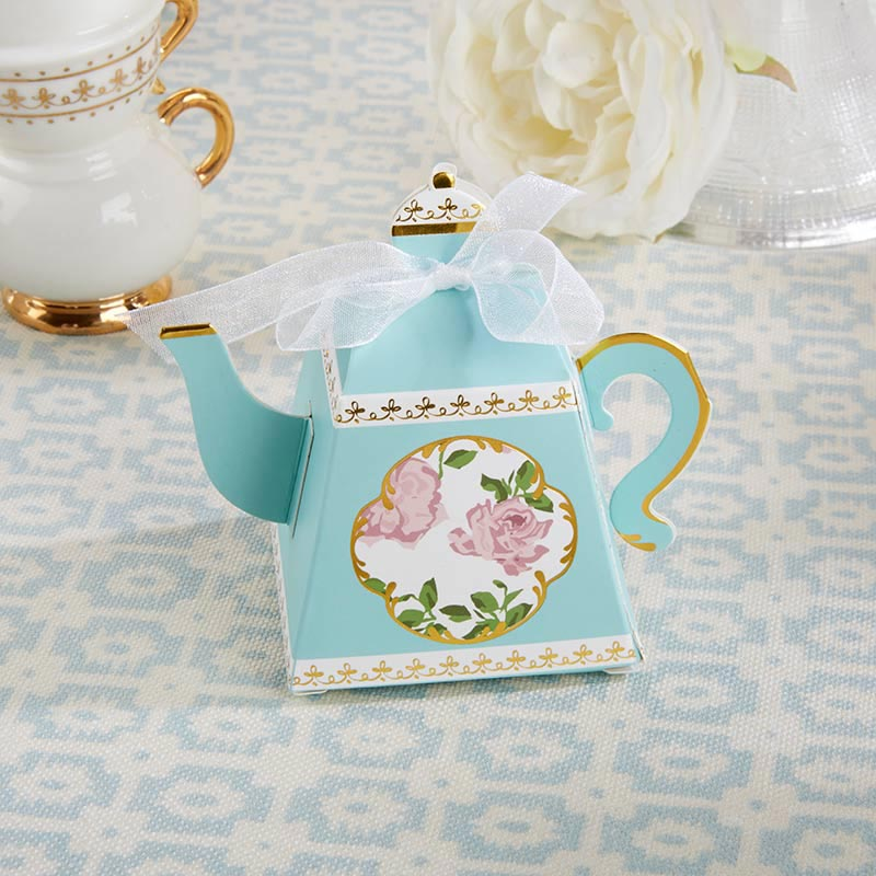 Tea Time Whimsy Teapot Favor Box - Blue (Set of 24)-Kate Aspen