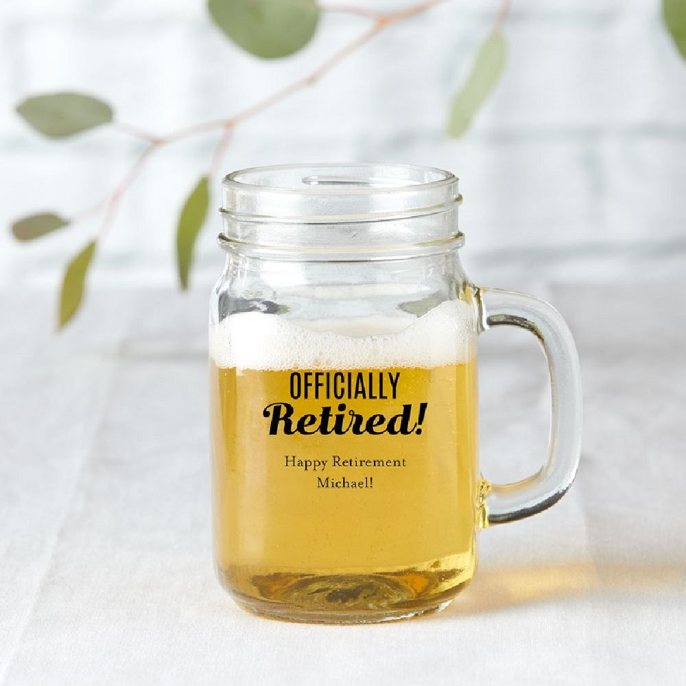 Personalized 16 oz Mason Jar Mug -Celebrate
