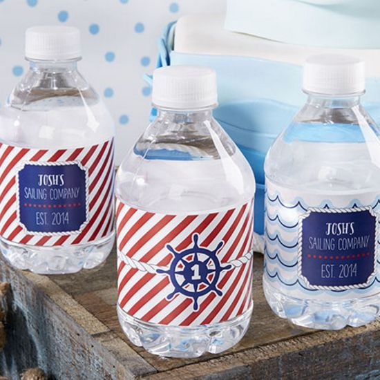 Personalized Water Bottle Labels - Nautical Birthday-Kate Aspen