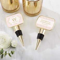 Personalized Gold Bottle Stopper - Modern Romance