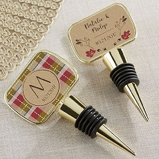 Personalized Gold Bottle Stopper with Epoxy Dome - Fall-Kate Aspen